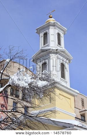 St. John Church Steeple President's Church, Lafayette Park After Snow