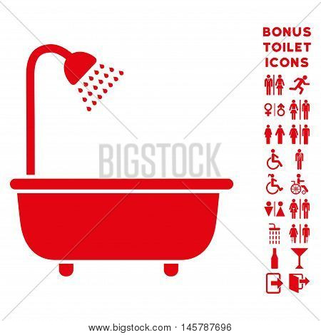 Bath Shower icon and bonus gentleman and lady lavatory symbols. Vector illustration style is flat iconic symbols, red color, white background.