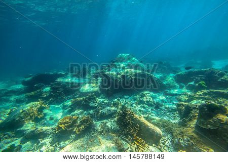 Typical landscape seabed with sunbeams of Phuket, Racha Noi in Thailand.