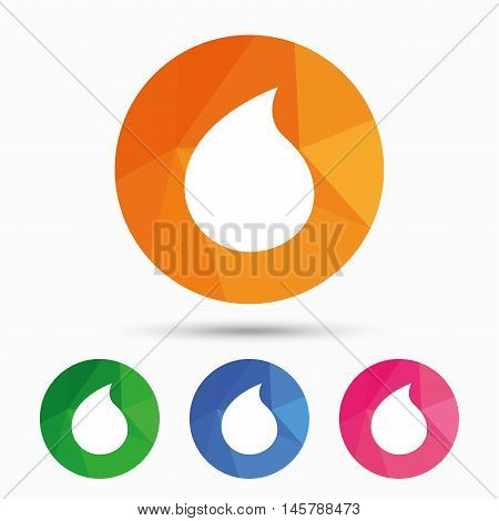 Water drop sign icon. Tear symbol. Triangular low poly button with flat icon. Vector