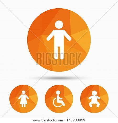 WC toilet icons. Human male or female signs. Baby infant or toddler. Disabled handicapped invalid symbol. Triangular low poly buttons with shadow. Vector