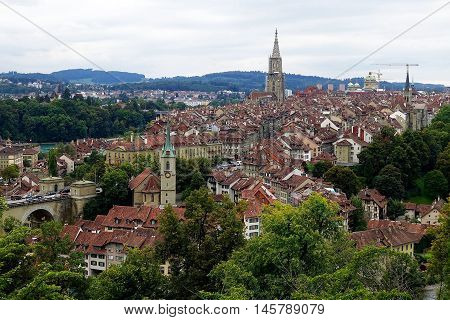 Berne, Switzerland, August 29, 2016: The old town of Berne, Switzerland, seen from the Rose Garden.