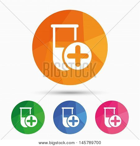 Medical test tube sign icon. Add new test with plus. Laboratory equipment symbol. Triangular low poly button with flat icon. Vector