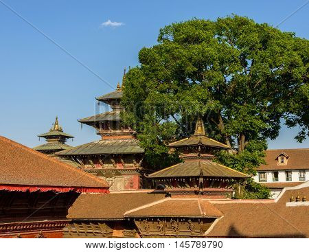 Temples and pagodas roofs at Kathmandu Durbar Square in Nepal, March 2014.