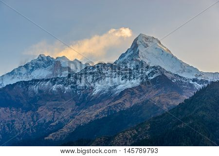 Annapurna I (left) and Annapurna South (right) at sunrise, in Nepal