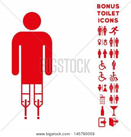 Man Crutches icon and bonus gentleman and lady WC symbols. Vector illustration style is flat iconic symbols, red color, white background.