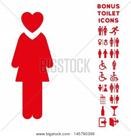 Mistress icon and bonus gentleman and female WC symbols. Vector illustration style is flat iconic symbols, red color, white background.