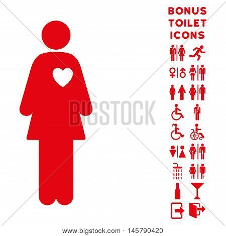 Mistress icon and bonus man and female restroom symbols. Vector illustration style is flat iconic symbols, red color, white background.