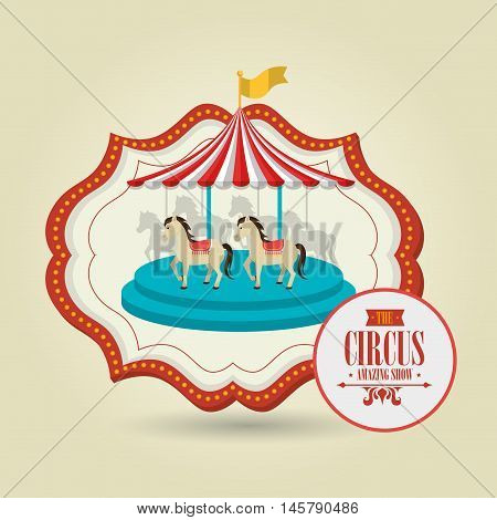 carousel horses emblem circus vector illustration eps10 eps 10