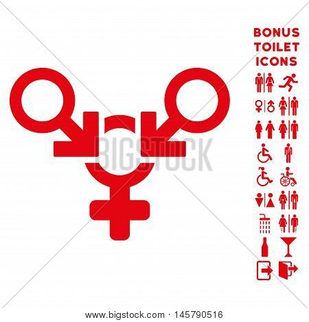 Polyandry icon and bonus male and female toilet symbols. Vector illustration style is flat iconic symbols, red color, white background.