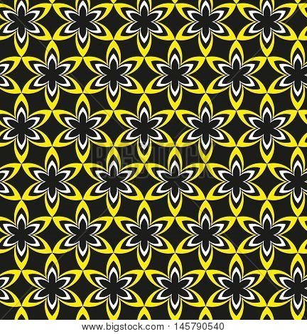 A Seamless Geometric Pattren Of Yellow Black And White Flowers