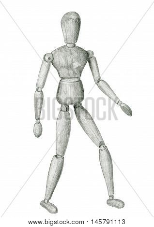 Pencil sketch drawing wooden figure standing man isolated on white
