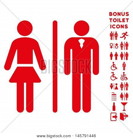 Toilet Persons icon and bonus male and woman WC symbols. Vector illustration style is flat iconic symbols, red color, white background.