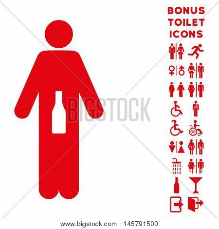 WC Man icon and bonus man and female restroom symbols. Vector illustration style is flat iconic symbols, red color, white background.