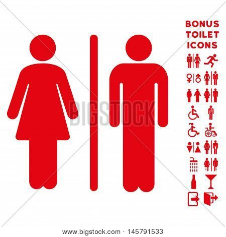 WC Persons icon and bonus man and woman restroom symbols. Vector illustration style is flat iconic symbols, red color, white background.