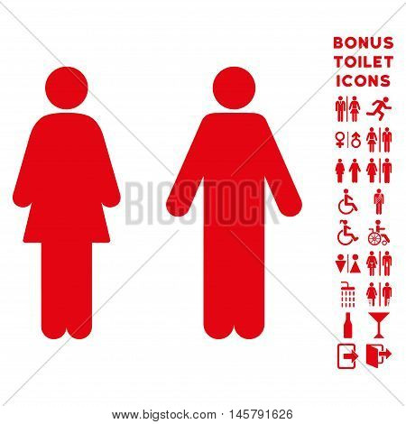 WC Persons icon and bonus male and female restroom symbols. Vector illustration style is flat iconic symbols, red color, white background.