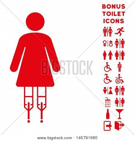 Woman Crutches icon and bonus male and lady lavatory symbols. Vector illustration style is flat iconic symbols, red color, white background.