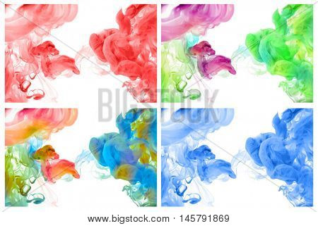 Set of acrylic colors in water. Abstract background.