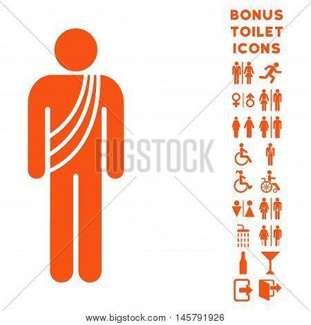 Buddhist Monk icon and bonus man and female lavatory symbols. Vector illustration style is flat iconic symbols, orange color, white background.