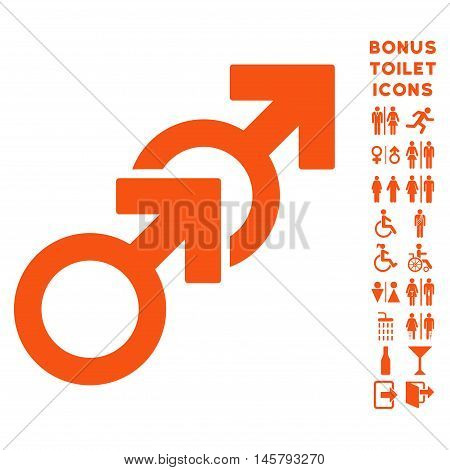 Gay Sex icon and bonus gentleman and female toilet symbols. Vector illustration style is flat iconic symbols, orange color, white background.