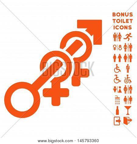 Harem icon and bonus gentleman and woman WC symbols. Vector illustration style is flat iconic symbols, orange color, white background.