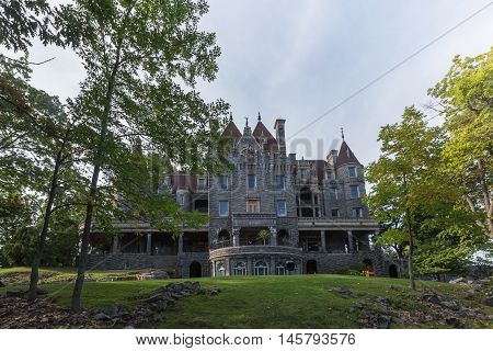 Boldt Castle in the summer months with green trees