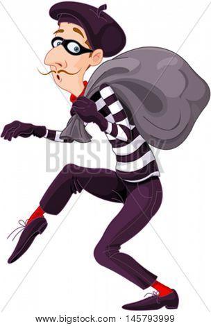 Illustration of very cute burglar