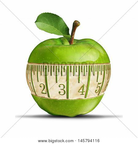 Fitness green apple symbol as a measuring tape shape carved out of the healthy fruit as a fitness and nutrition concept for health food dieting and losing weight or staying slim with 3D illustration elements.