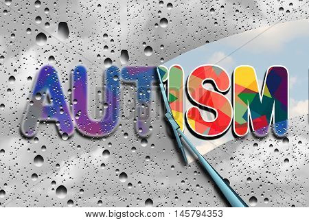 Autism awareness and autistic disorders concept as cloudy blurred text with a wiper clearing the confusion exposing a sharp understanding of the neurological syndrome with 3D illustration elements.