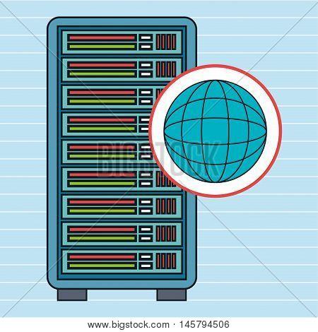 server computer globe vector illustration eps10 eps 10