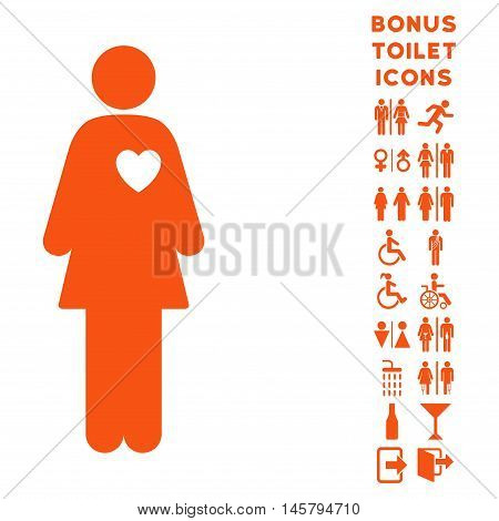 Mistress icon and bonus man and woman WC symbols. Vector illustration style is flat iconic symbols, orange color, white background.