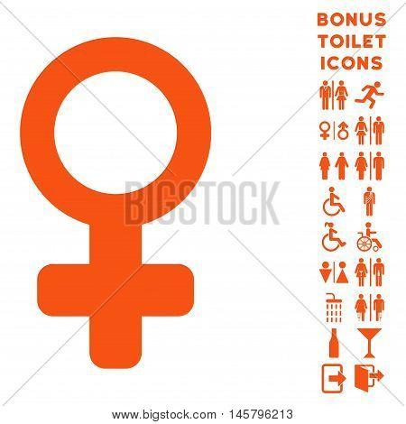 Venus Symbol icon and bonus man and lady toilet symbols. Vector illustration style is flat iconic symbols, orange color, white background.