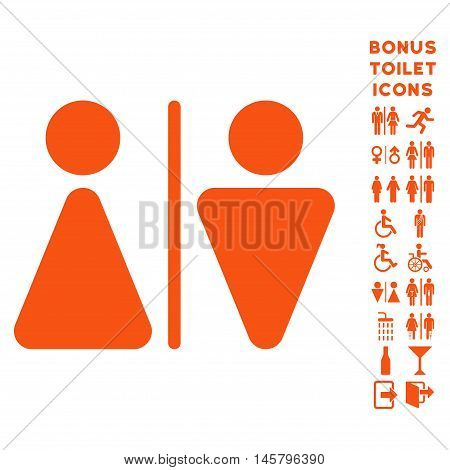 WC Persons icon and bonus gentleman and woman lavatory symbols. Vector illustration style is flat iconic symbols, orange color, white background.