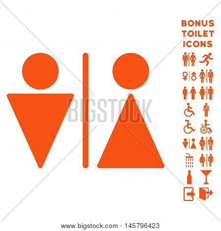WC Persons icon and bonus man and lady lavatory symbols. Vector illustration style is flat iconic symbols, orange color, white background.