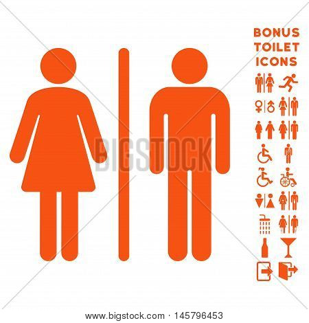 WC Persons icon and bonus gentleman and lady restroom symbols. Vector illustration style is flat iconic symbols, orange color, white background.