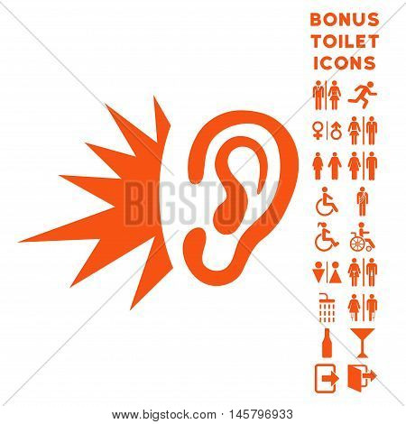 Listen Loud Sound icon and bonus gentleman and woman lavatory symbols. Vector illustration style is flat iconic symbols, orange color, white background.