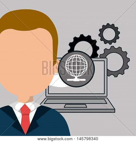 man laptop gears vector illustration eps10 eps 10