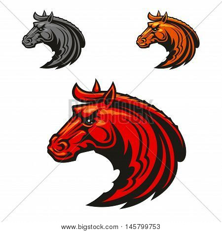 Horse stallion head emblems. Vector icons for equestrian sport club emblem, team shield, badge, label. Red, yellow, gray powerful and strong mustang icons