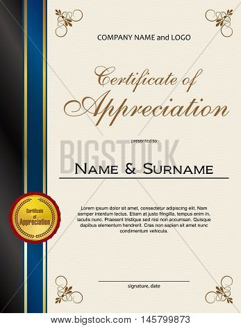 Certificate of Appreciation with medal and ribbon portrait version