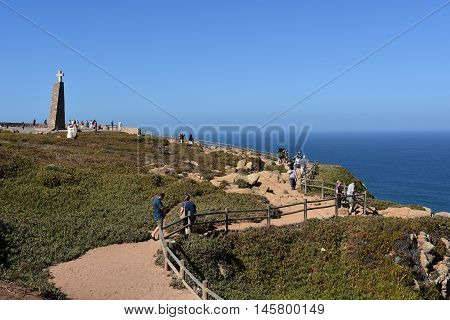 SINTRA, PORTUGAL - AUG 20: Monument declaring Cabo da Roca as the westernmost extent of continental Europe, as seen at Roca Cape near, Sintra, Portugal, on Aug 20, 2016.