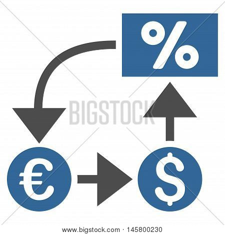 Currency Cashflow icon. Vector style is bicolor flat iconic symbol, cobalt and gray colors, white background.