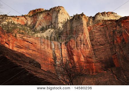 Red White Canyon Walls Temple Of Sinawava Zion Canyon National Park Utah