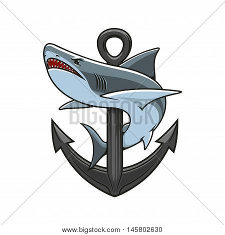 Shark and Anchor heraldic emblem. Vector nautical icons for marine sport club mascot, nautical guard shield, t-shirt