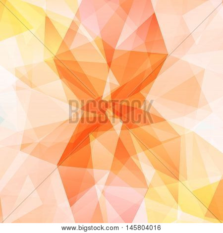 Colorful diamond texture close-up. Geometric polygonal pattern. Vector illustration. Abstract orange background.