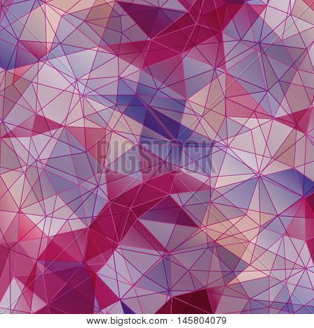 Colorful diamond texture close-up. Geometric polygonal pattern. Vector illustration. Abstract purple background.