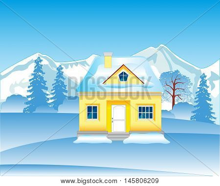 The Solitary house in wood in winter.Vector illustration