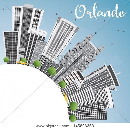 Orlando Skyline with Gray Buildings, Blue Sky and Copy Space. Business Travel and Tourism Concept with Orlando City. Image for Presentation Banner Placard and Web Site.