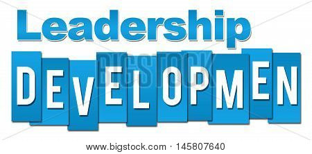 Leadership development text written over blue background.