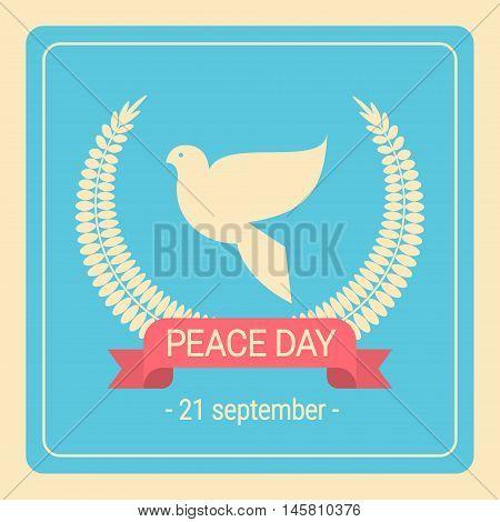 World Peace Day White Dove Bird Retro Poster Vector Illustration