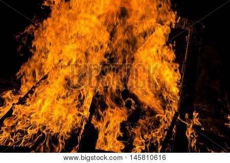 Burning fire flame. Bright and beautiful flame during the combustion of the resin